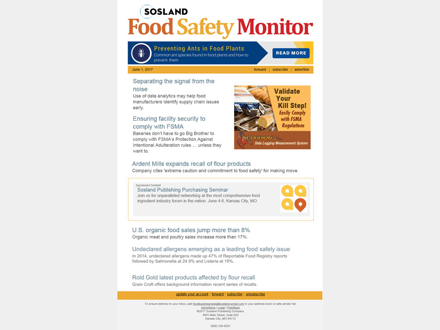 Food Safety Monitor e-newsletter